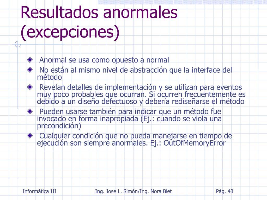 Resultados anormales (excepciones)