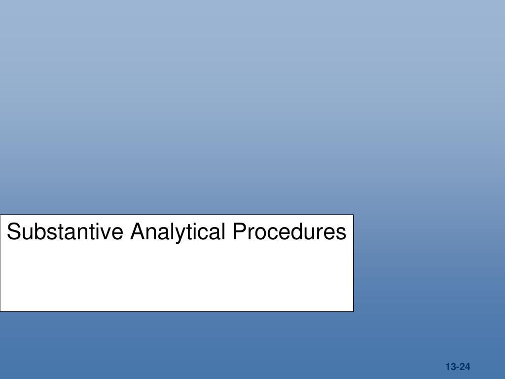 Substantive Analytical Procedures