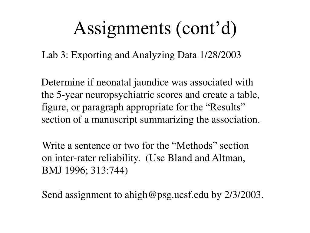Assignments (cont'd)