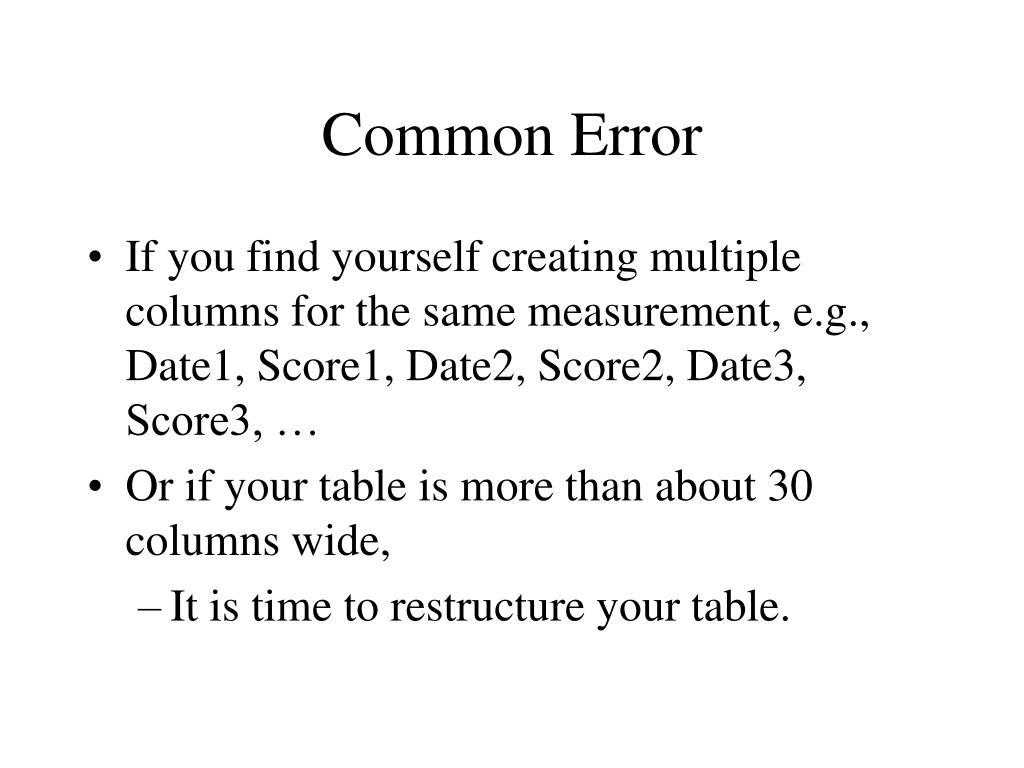 Common Error