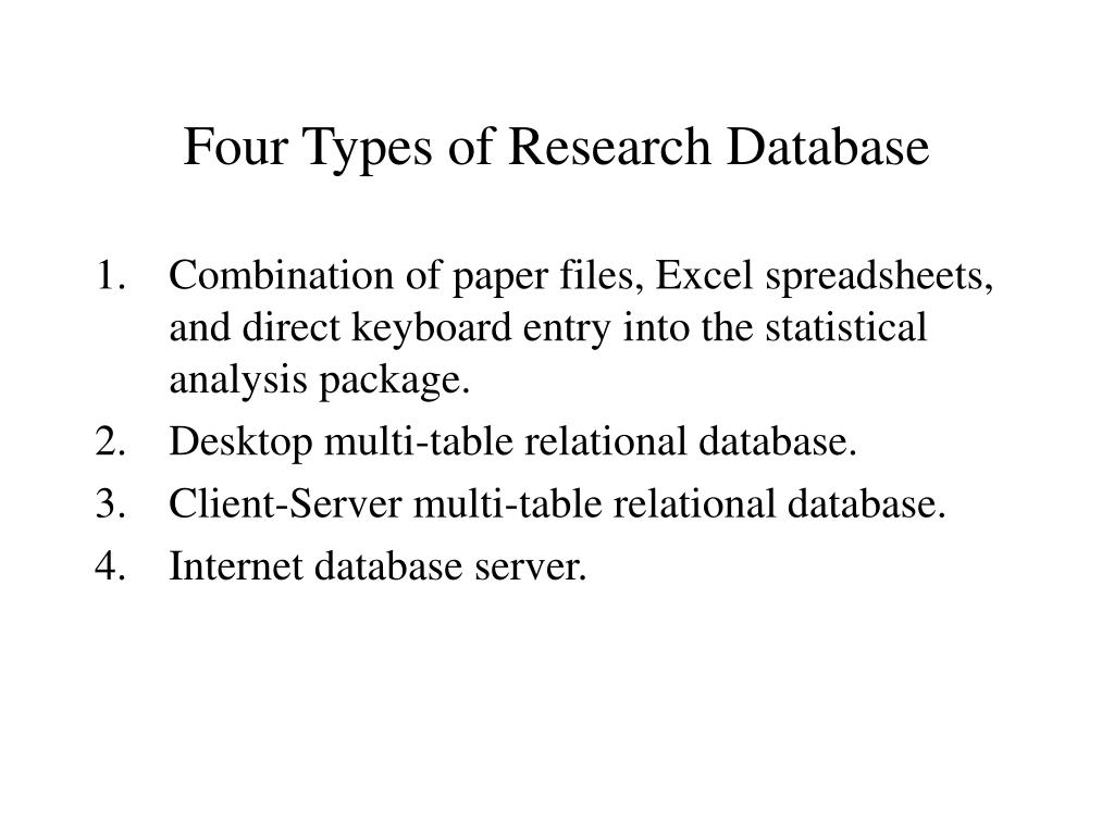 Four Types of Research Database