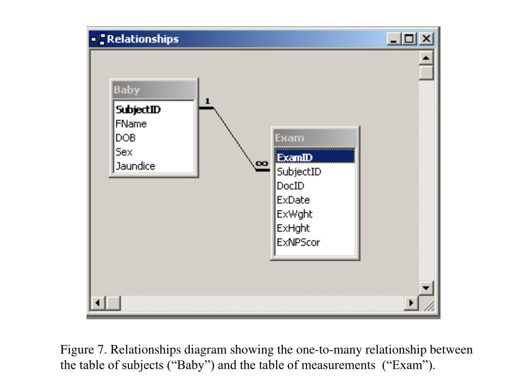 """Figure 7. Relationships diagram showing the one-to-many relationship between  the table of subjects (""""Baby"""") and the table of measurements  (""""Exam"""")."""