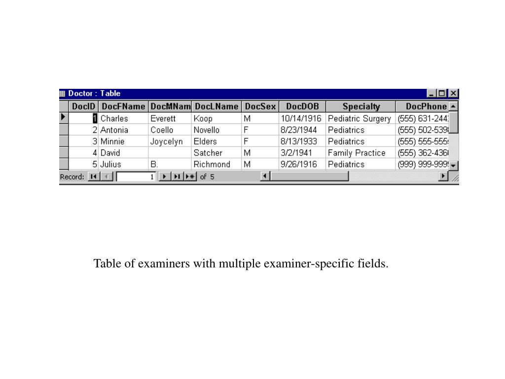 Table of examiners with multiple examiner-specific fields.
