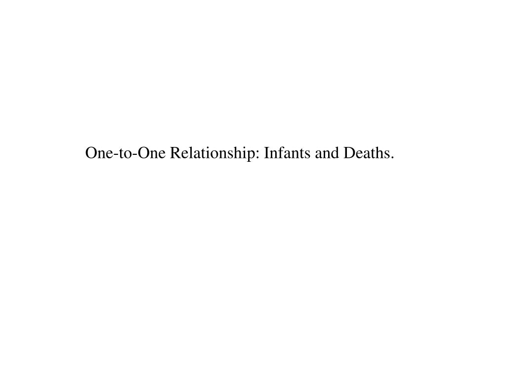 One-to-One Relationship: Infants and Deaths.