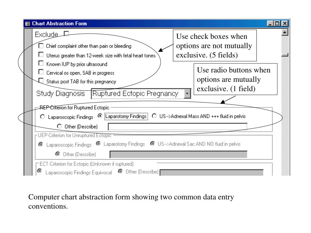 Use check boxes when options are not mutually exclusive. (5 fields)