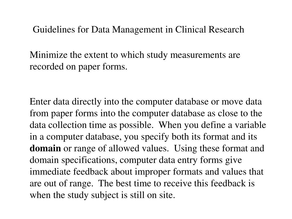 Guidelines for Data Management in Clinical Research
