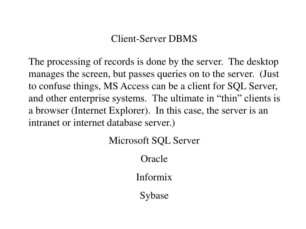 Client-Server DBMS