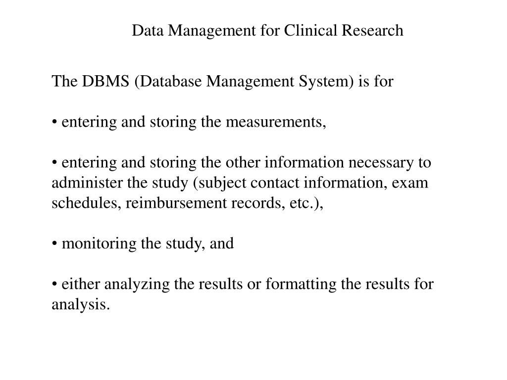 Data Management for Clinical Research