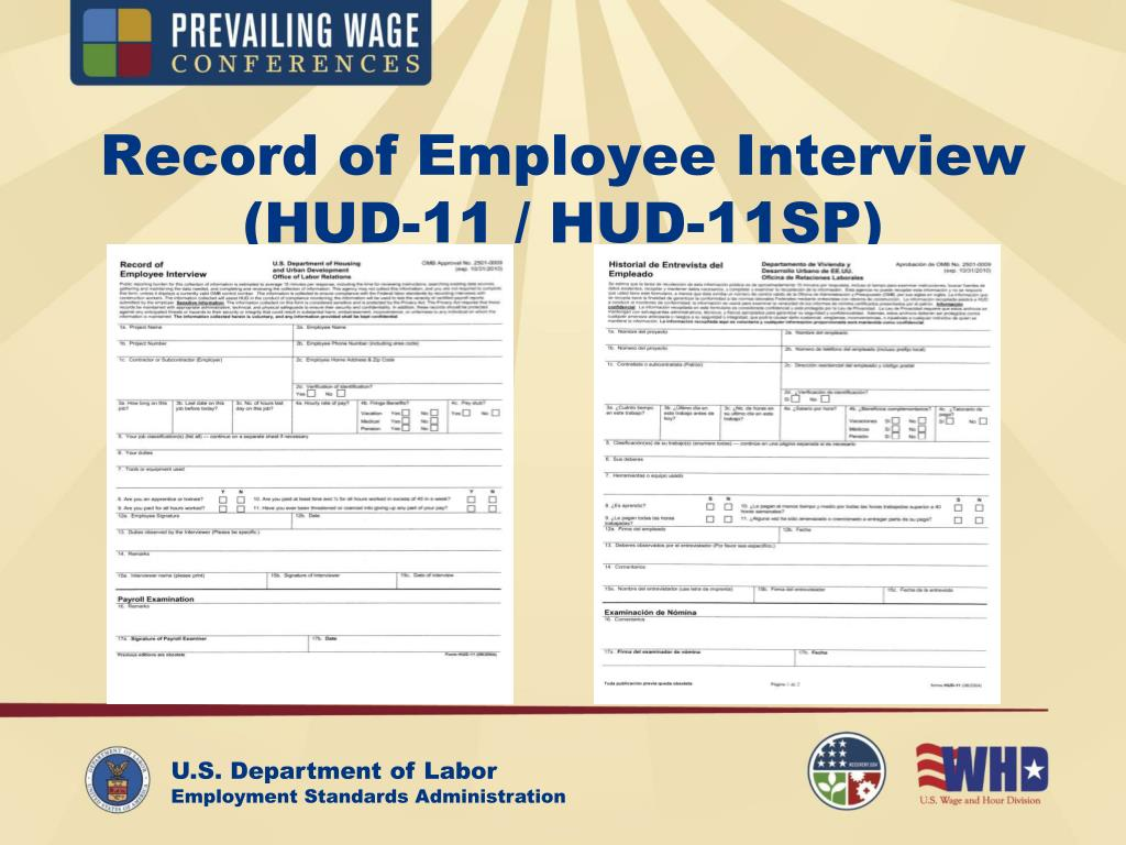 Record of Employee Interview (HUD-11 / HUD-11SP)