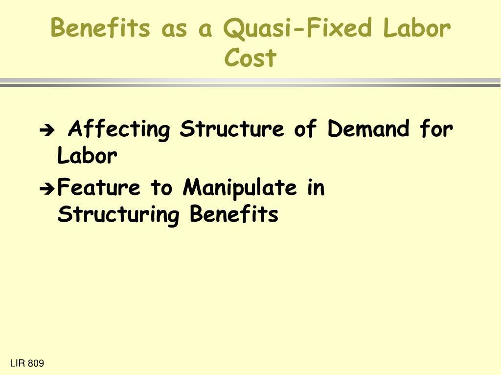Benefits as a Quasi-Fixed Labor Cost