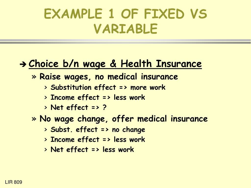 EXAMPLE 1 OF FIXED VS VARIABLE