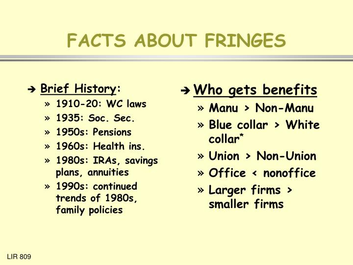 Facts about fringes