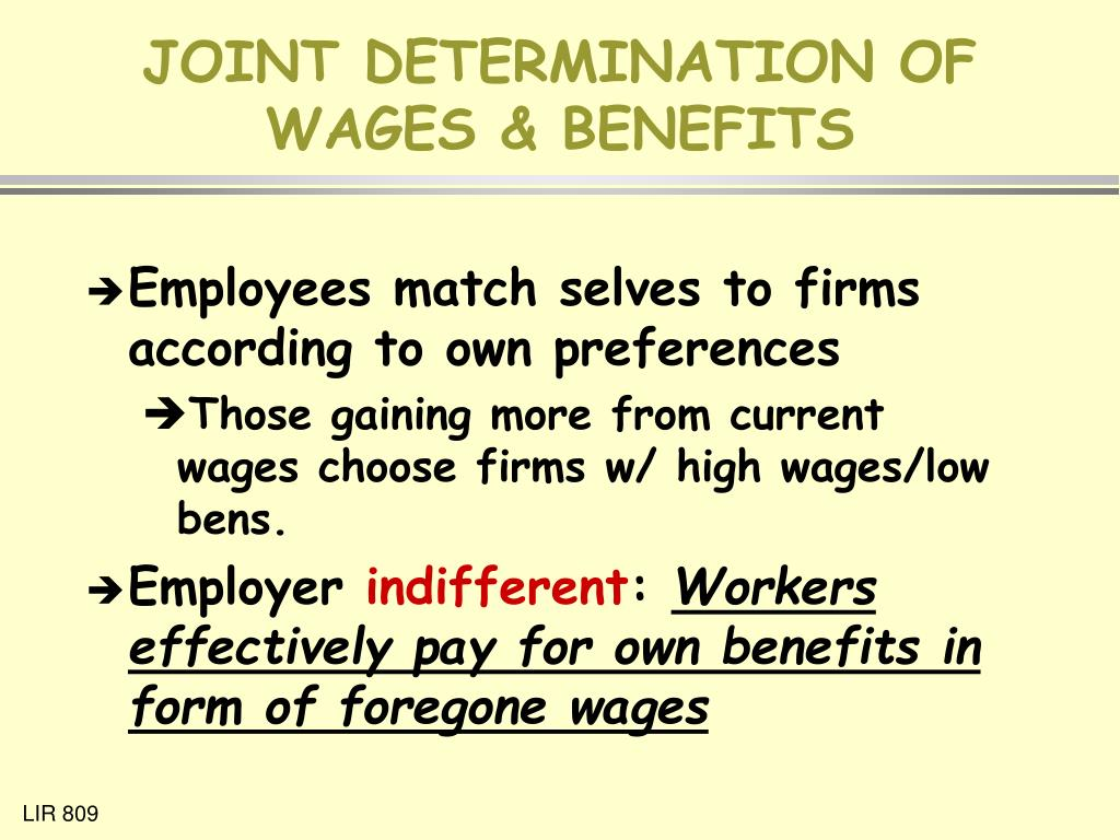 JOINT DETERMINATION OF WAGES & BENEFITS