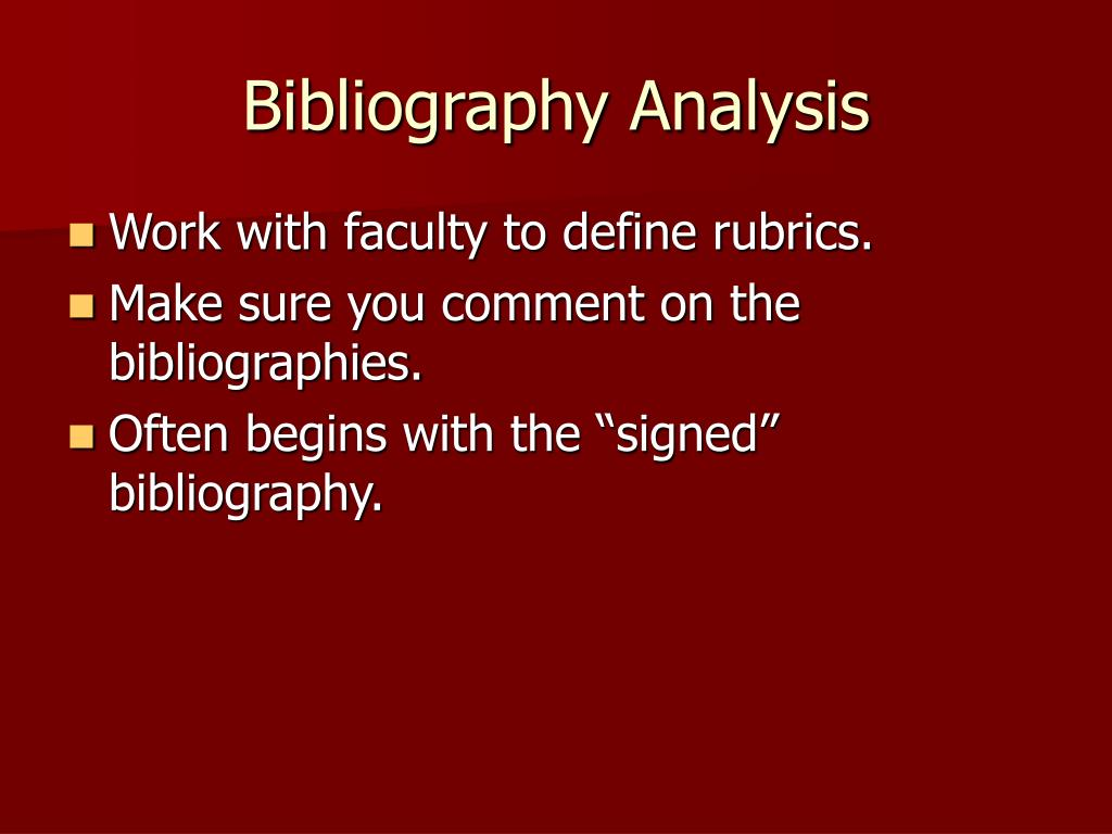Bibliography Analysis