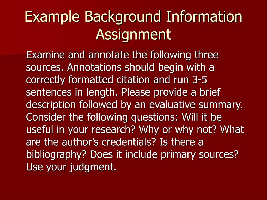 Example Background Information Assignment