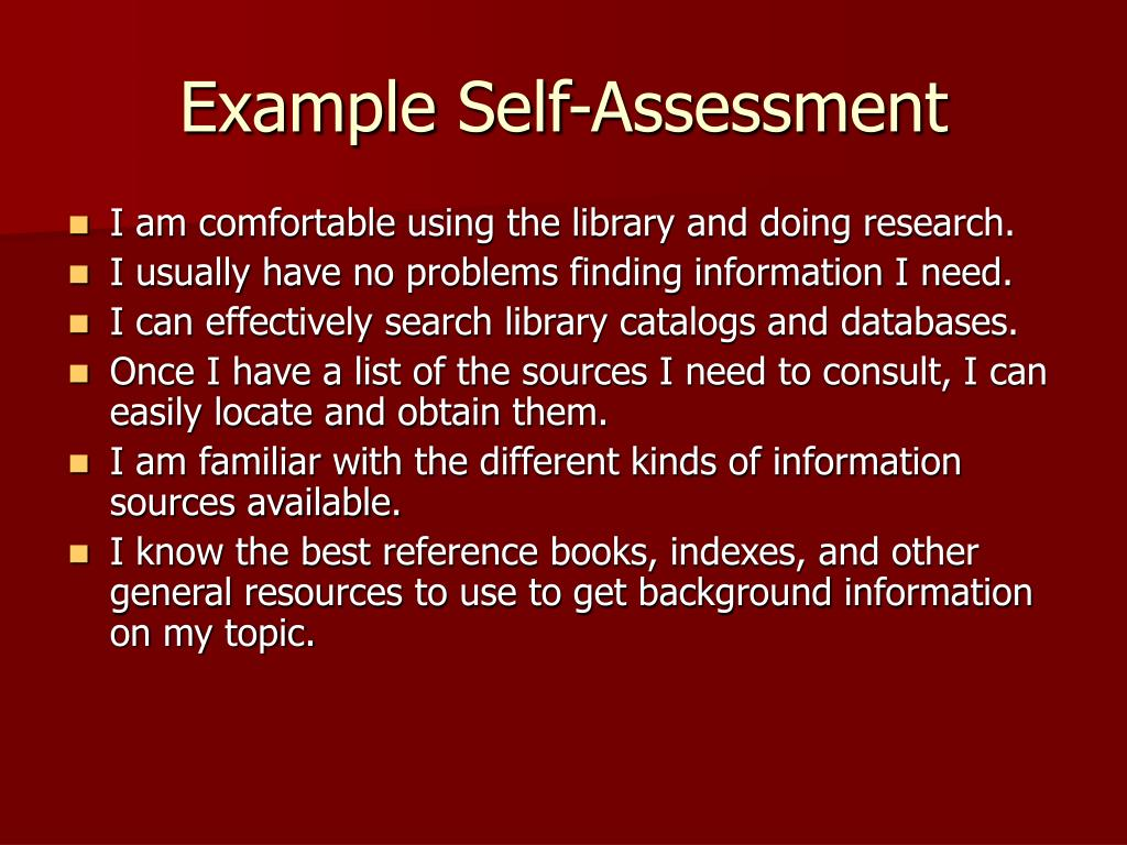 Example Self-Assessment
