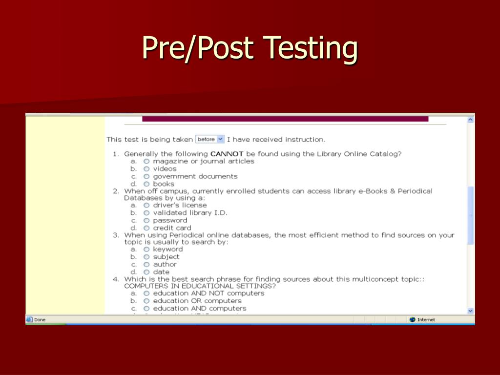 Pre/Post Testing
