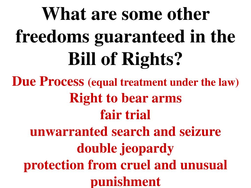 What are some other freedoms guaranteed in the Bill of Rights?