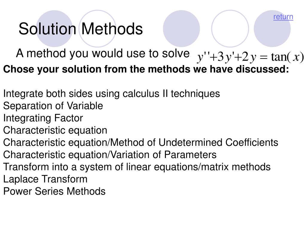 Solution Methods