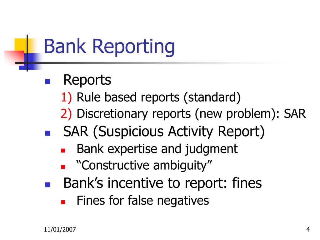 Bank Reporting