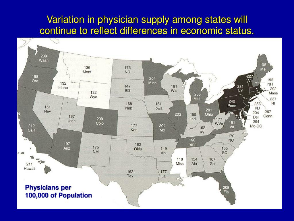 Variation in physician supply among states will