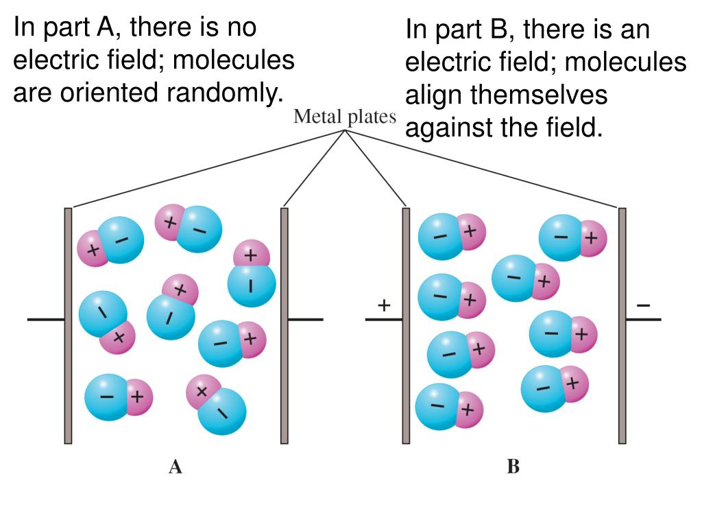 In part A, there is no electric field; molecules are oriented randomly.