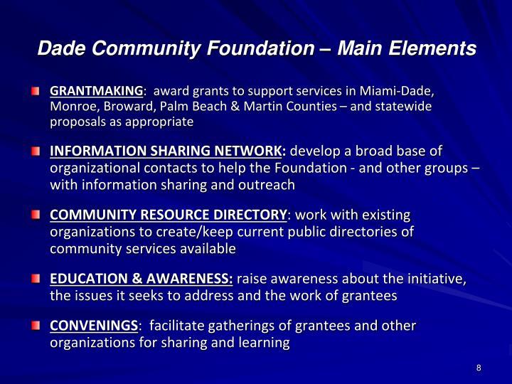 Dade Community Foundation – Main Elements