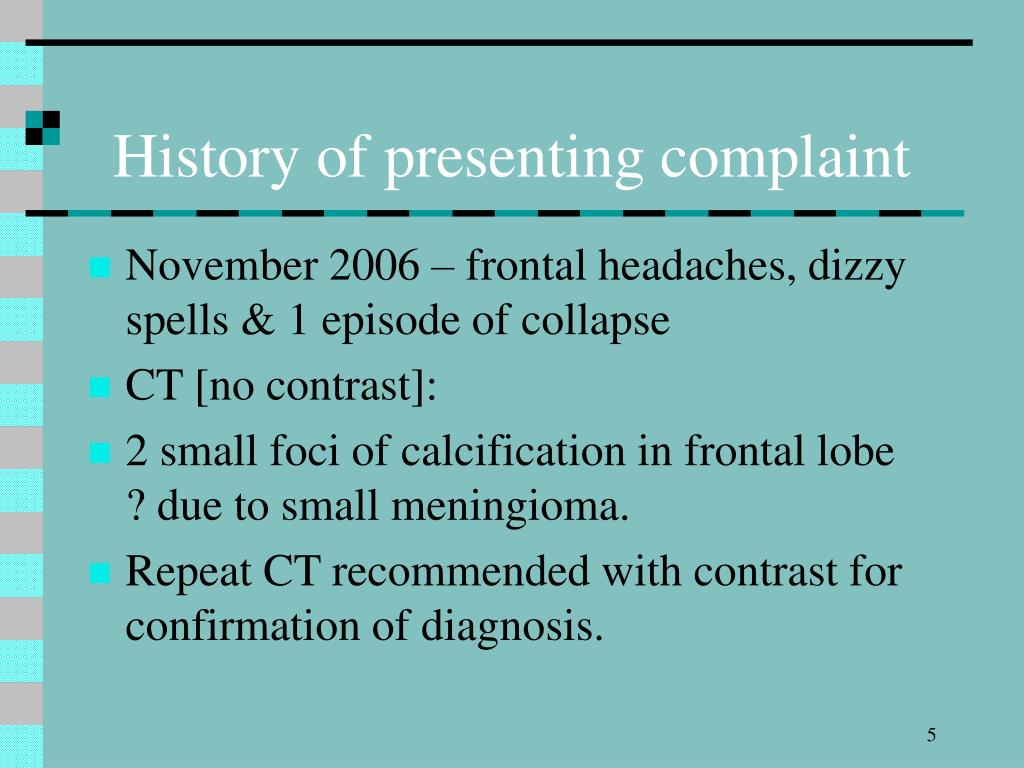 History of presenting complaint