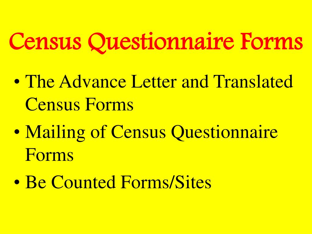 Census Questionnaire Forms