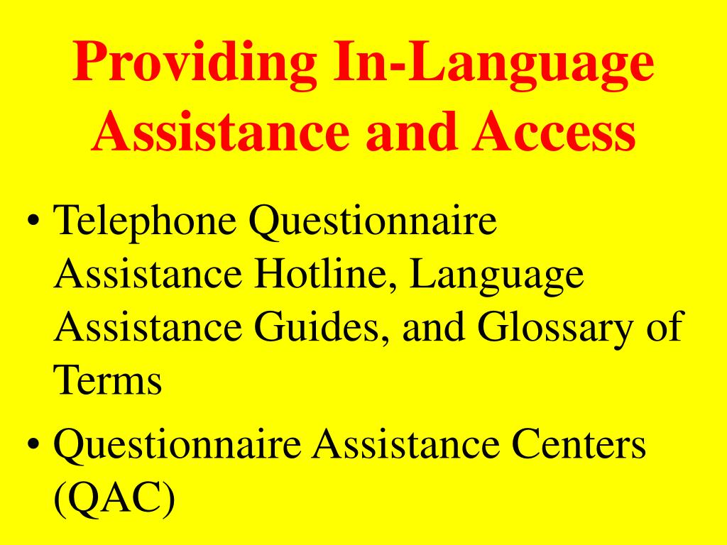 Providing In-Language Assistance and Access