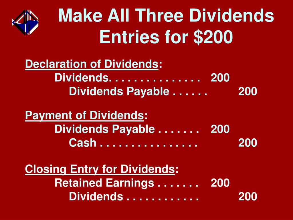 Make All Three Dividends Entries for $200