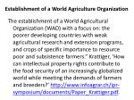 establishment of a world agriculture organization