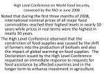 high level conference on world food security convened by the fao in june 2008