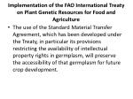 implementation of the fao international treaty on plant genetic resources for food and agriculture