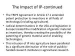 the impact of ip continued
