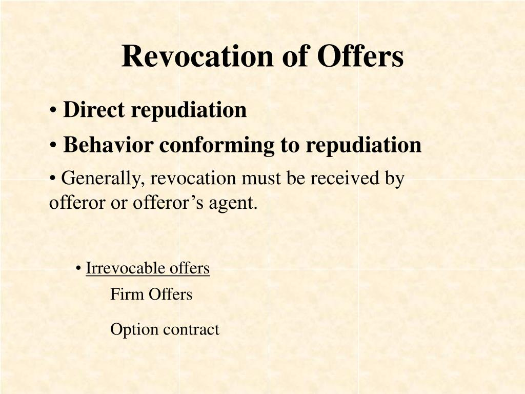 Revocation of Offers