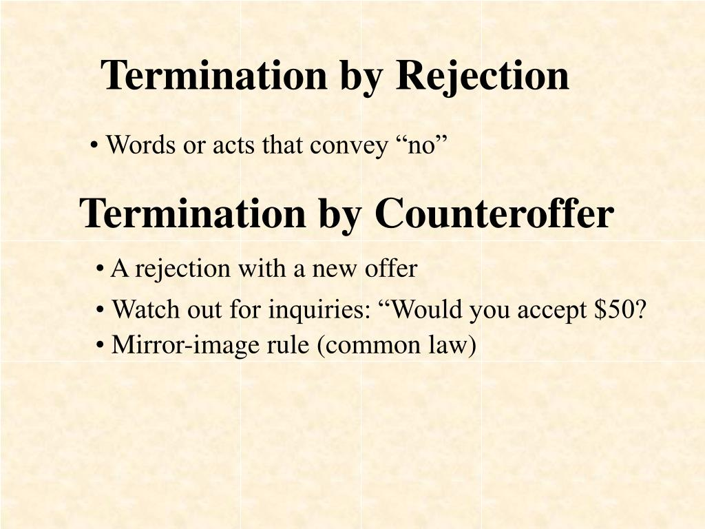 Termination by Rejection
