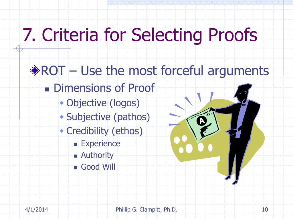 7. Criteria for Selecting Proofs
