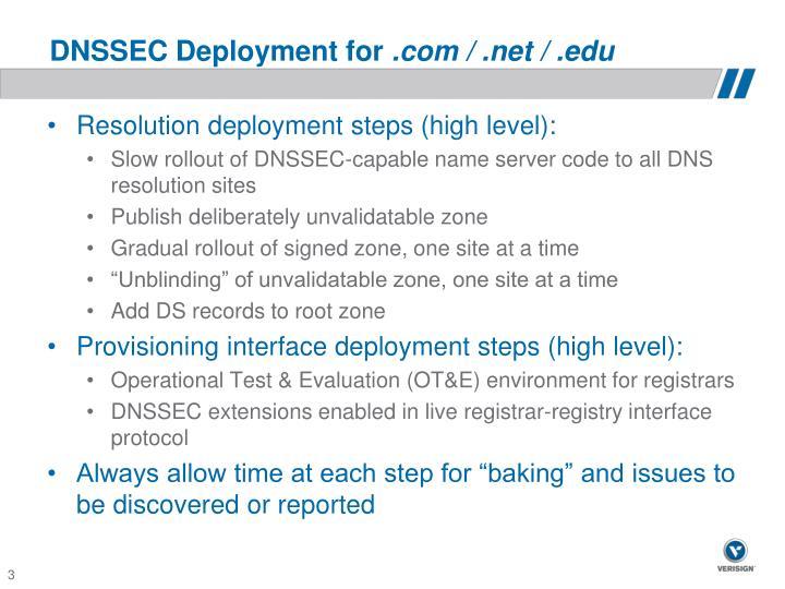 Dnssec deployment for com net edu