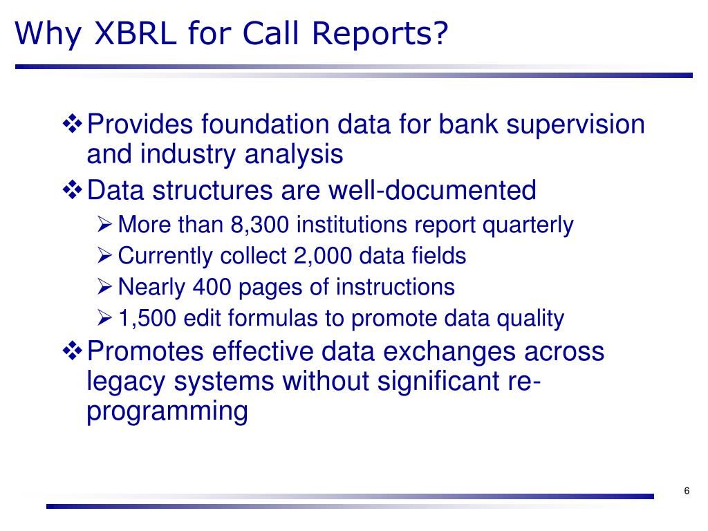Why XBRL for Call Reports?