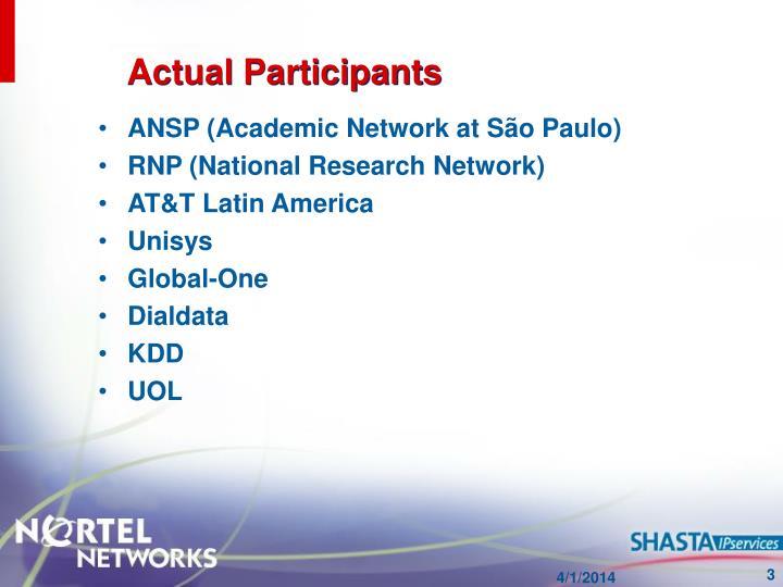 Actual participants