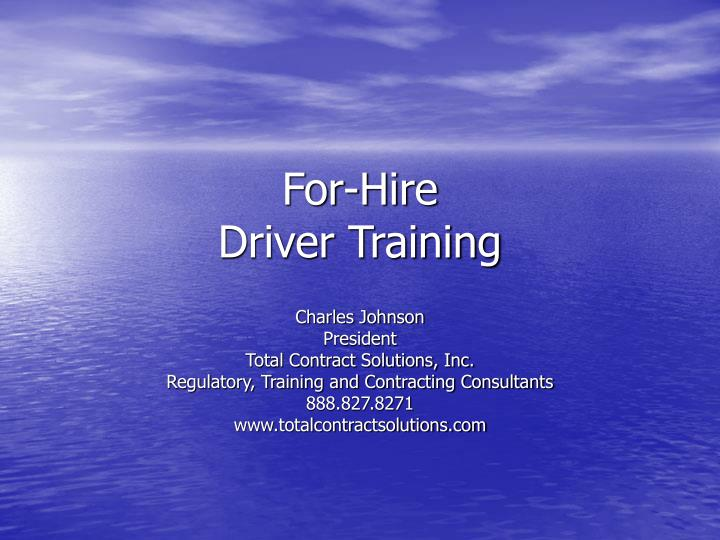 For hire driver training