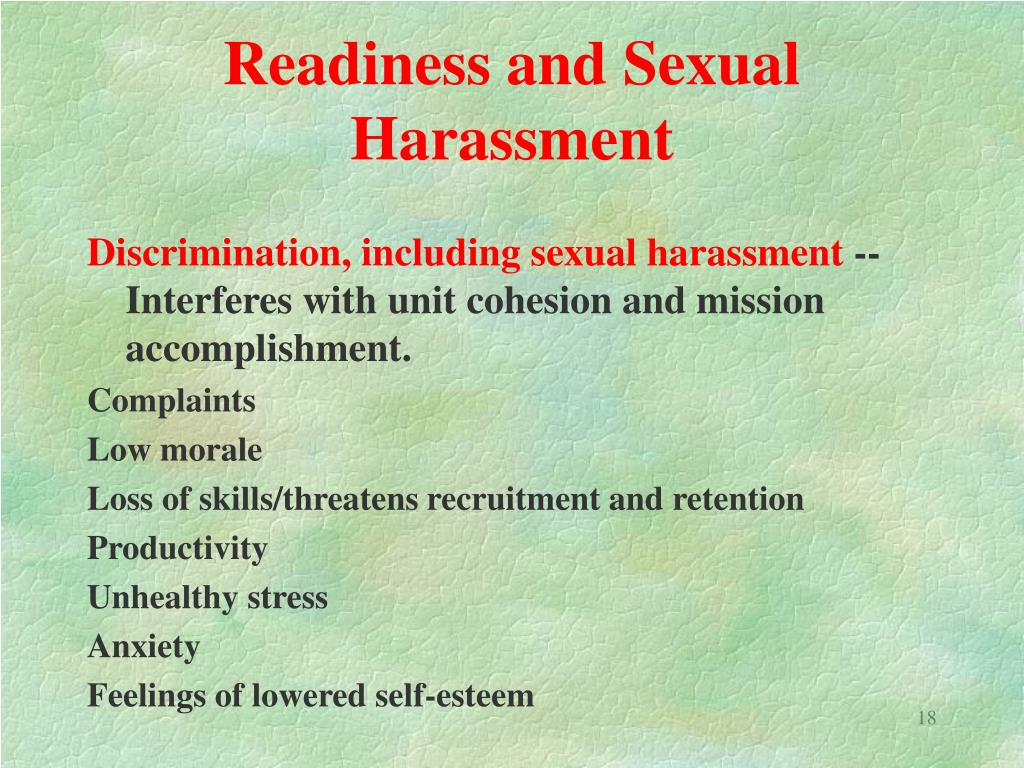 Readiness and Sexual Harassment