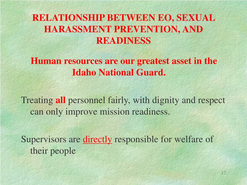 RELATIONSHIP BETWEEN EO, SEXUAL HARASSMENT PREVENTION, AND READINESS
