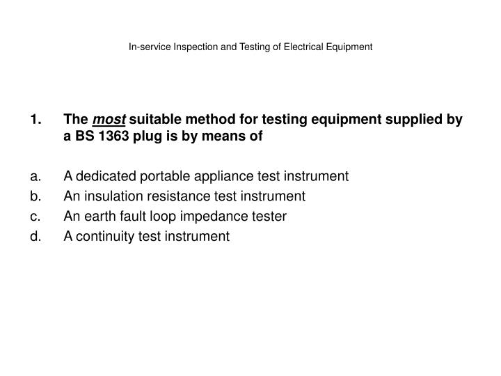 in service inspection and testing of electrical equipment n.