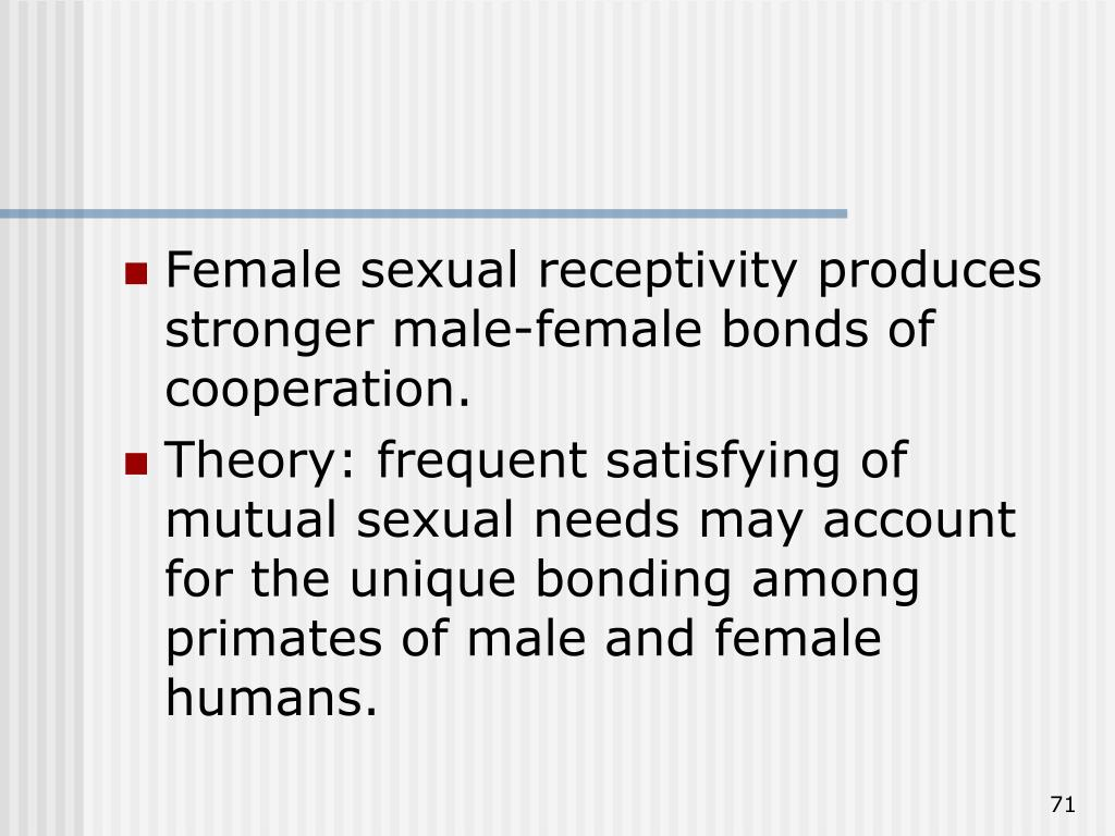 Female sexual receptivity produces stronger male-female bonds of cooperation.