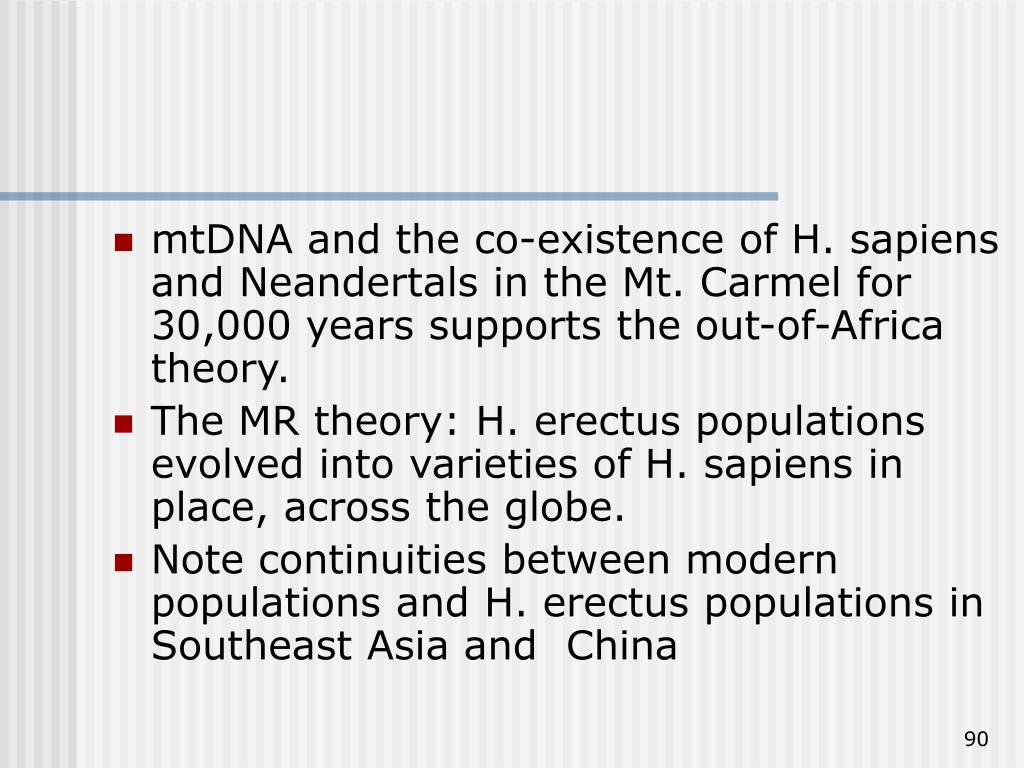 mtDNA and the co-existence of H. sapiens and Neandertals in the Mt. Carmel for 30,000 years supports the out-of-Africa theory.
