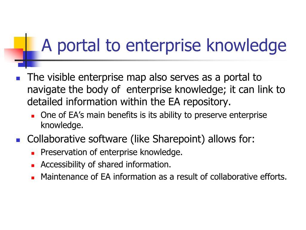 A portal to enterprise knowledge