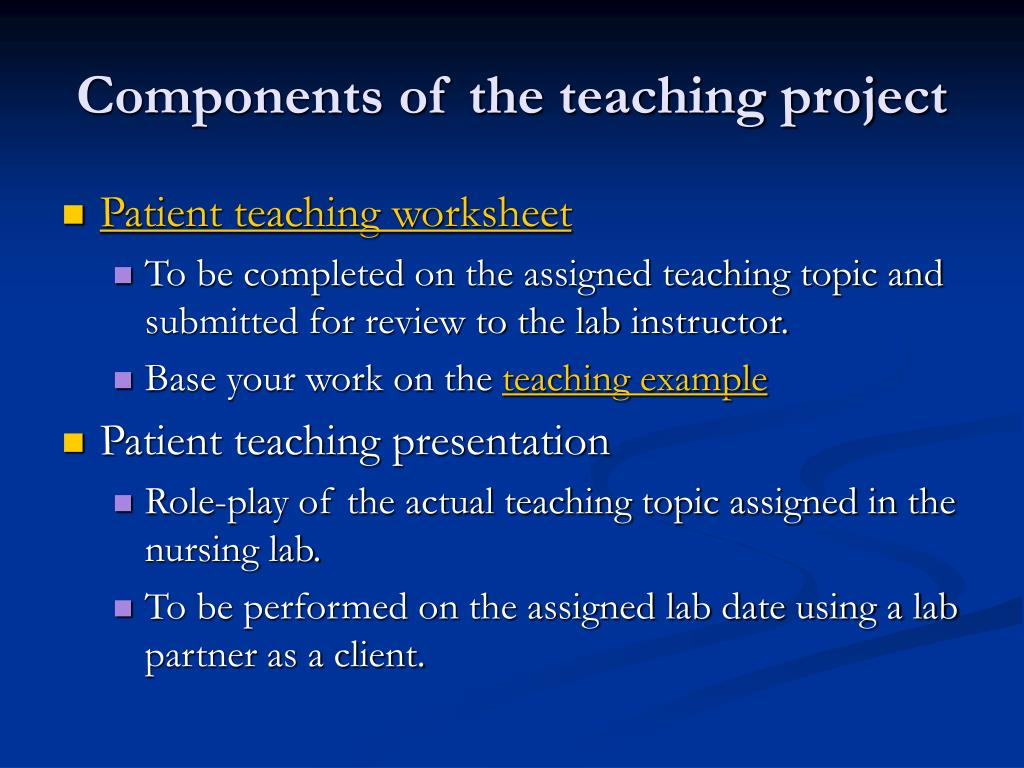 Components of the teaching project