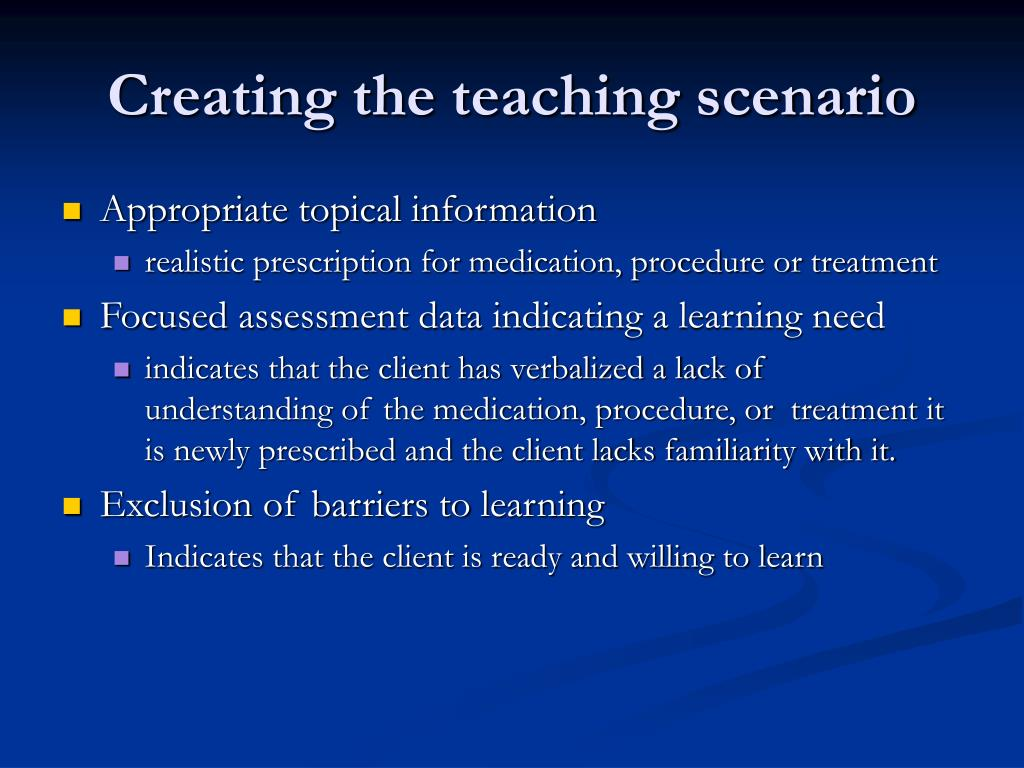 Creating the teaching scenario